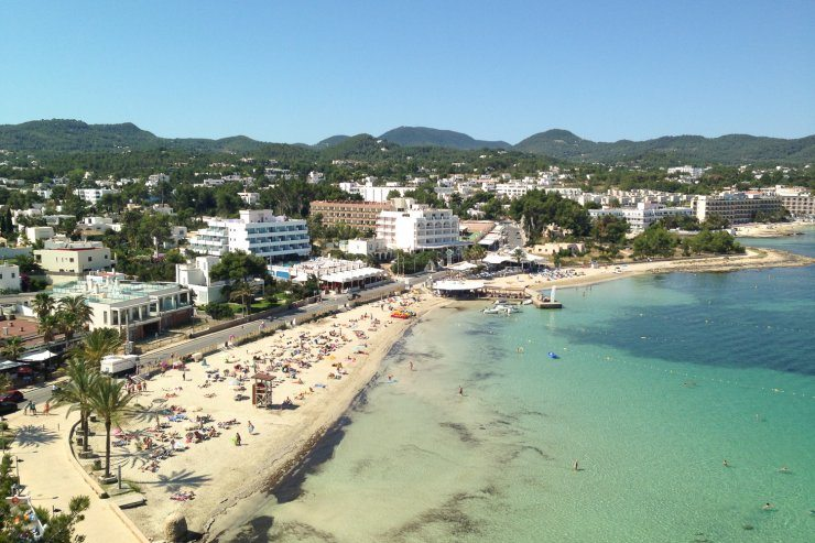 Es Puet beach San Antonio Bay lovely soft sand and shallow waters