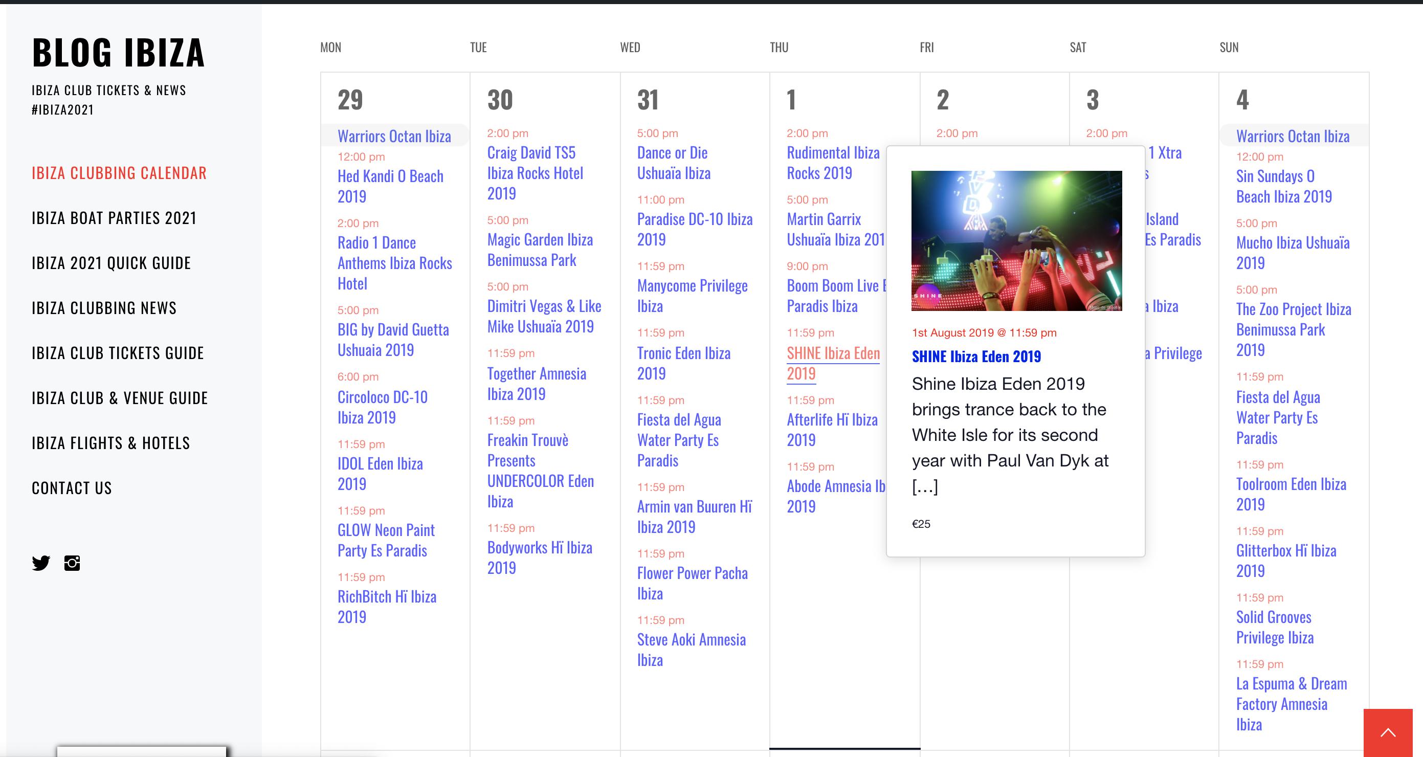 Ibiza Clubbing Calendar