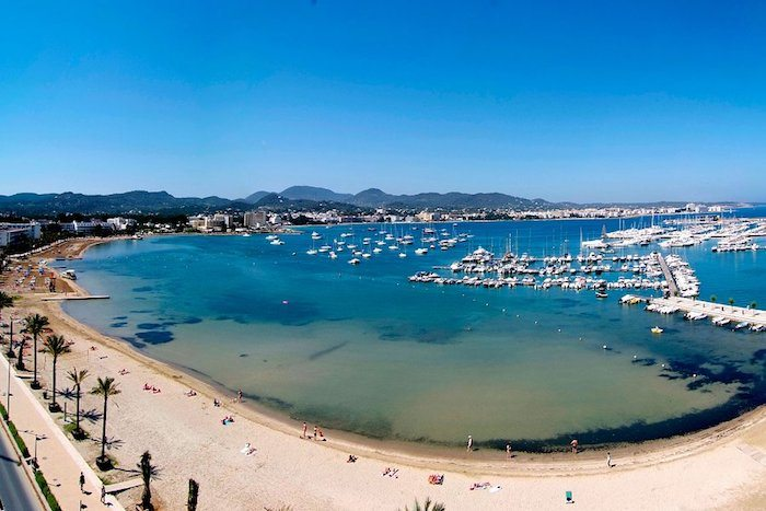 The natural harbour and long sweeping beach of San Antonio Ibiza