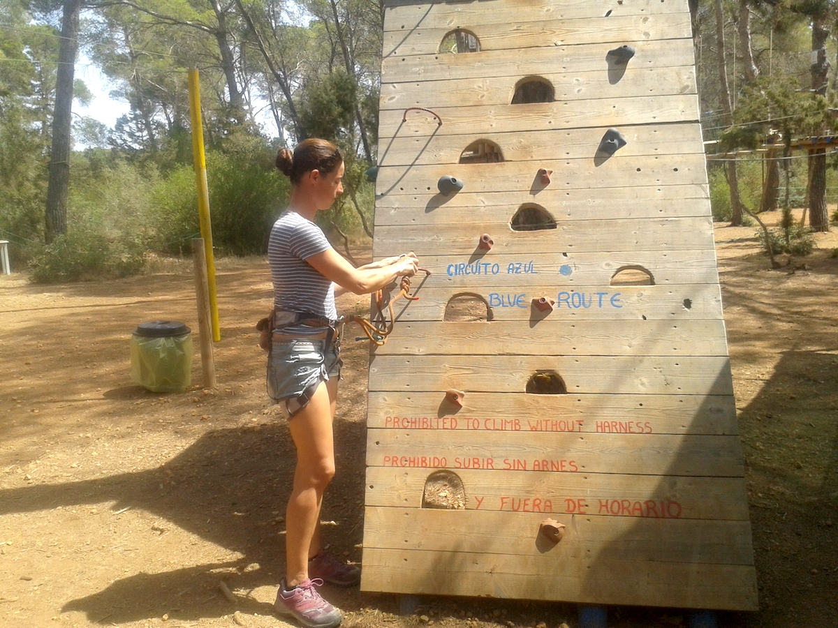 Preparing for the start of the blue route at Acrobosc Ibiza Woodland Adventure Park
