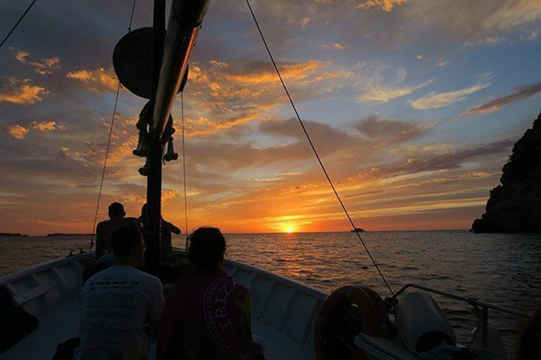 The perfect way to see the sunset is from Chilli Pepper Charters, San Antonio, Ibiza