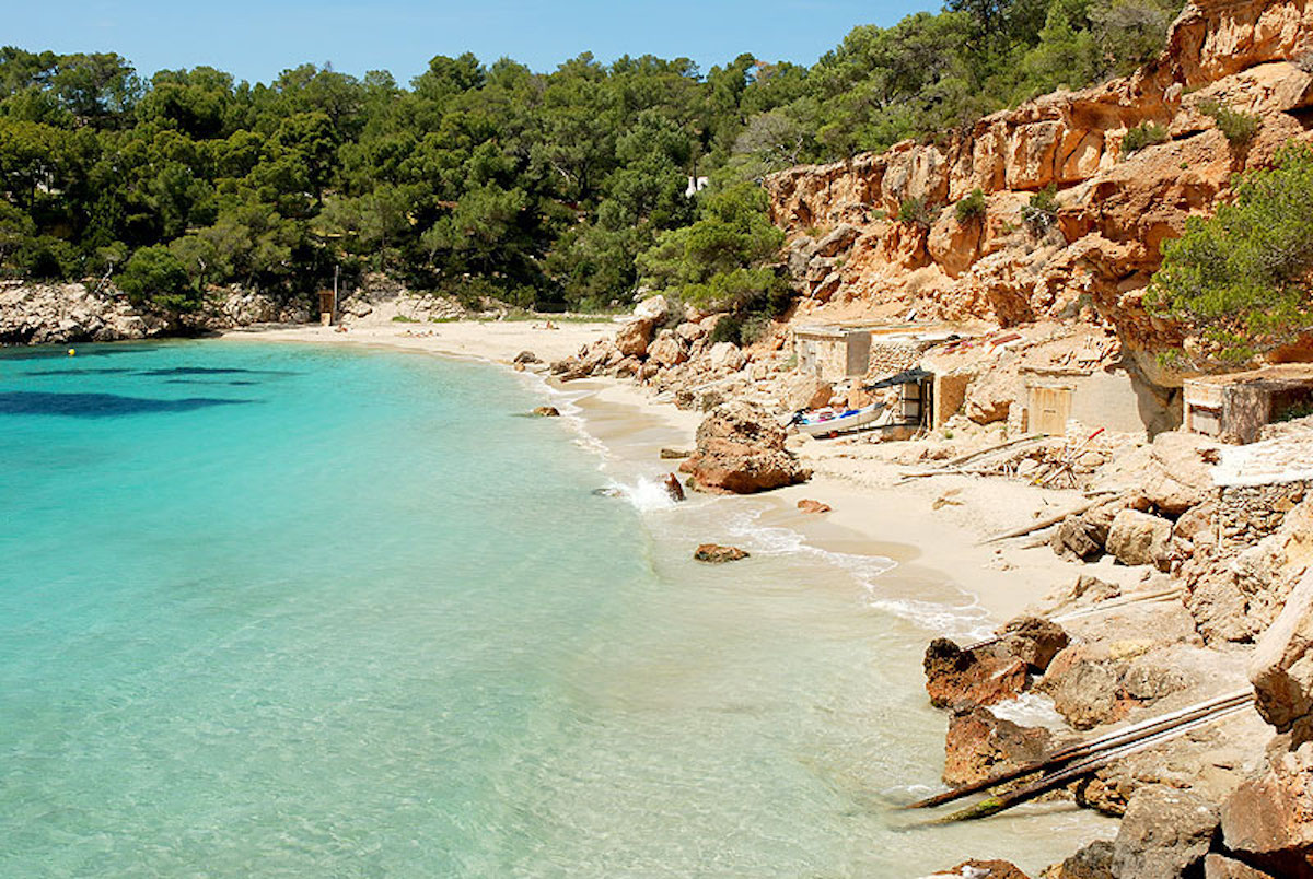 The blue sea and white sandy beaches of Ibiza.